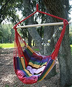 Breeze Hammocks-Hanging Rope Chair Hammock with Two Pillows - Style SPSWING2