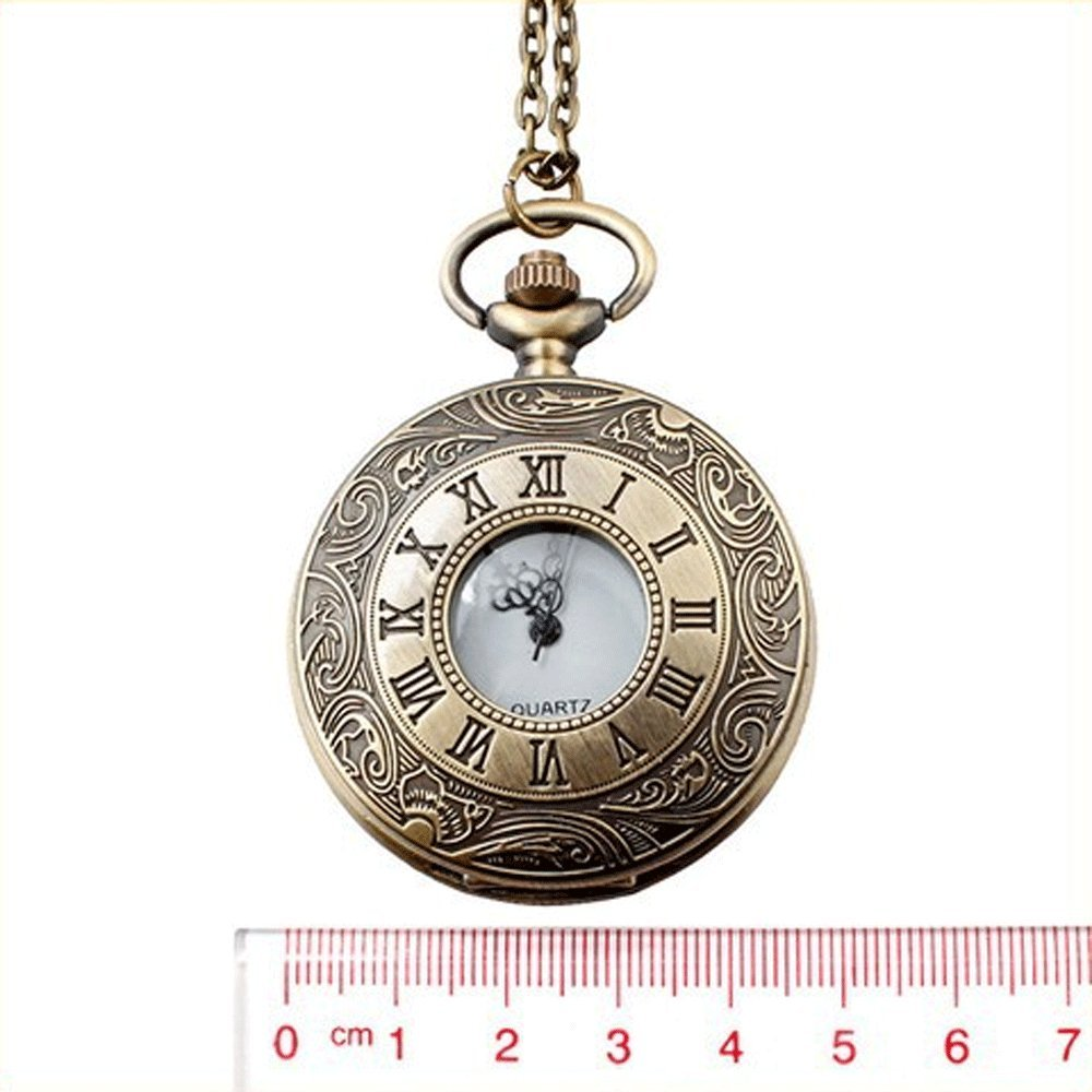 Mifine Antique Roman Pocket Watch Bronze Dial Open Faced Roman Numerals with Vintage Metal Rope 4