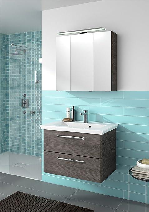 Pelipal TRENTINO 800 Set di mobili da bagno (80 cm), lavabo in marmo minerale/specchio/mobiletto