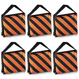 Neewer Set of 6 Black/Orange Sandbag Photography Studio Video Stage Film Sandbag Saddlebag for Light Stands Boom Arms Tripods