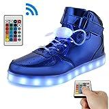 KUshopfast BeKing Bright High Top Light up Shoes LED Flashing Sneakers for Kids Boys Girls JMblue38