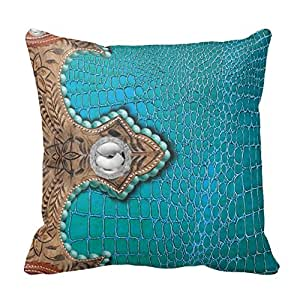Western Throw Pillows For Couch : Amazon.com - Alligator, Faux, Western Accent Turq & Brown Throw Pillow