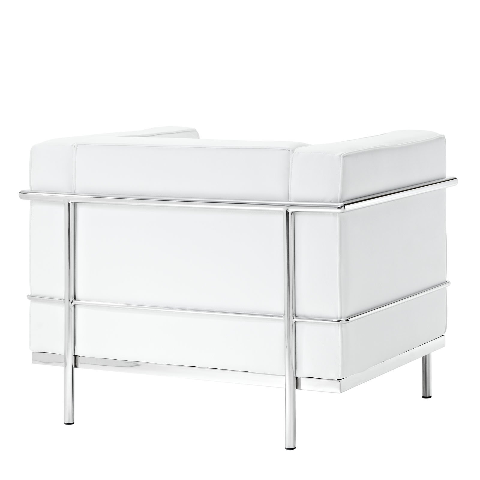 lexmod le corbusier style lc3 armchair in genuine white leather