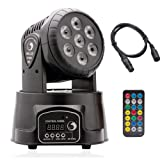 U`King Moving Head Stage Lighting RGBW (4 in 1) 7 LED x 10W for DJ, Party Decoration by IR Remote and DMX Controller (Color: BlackwithRemote, Tamaño: size B)