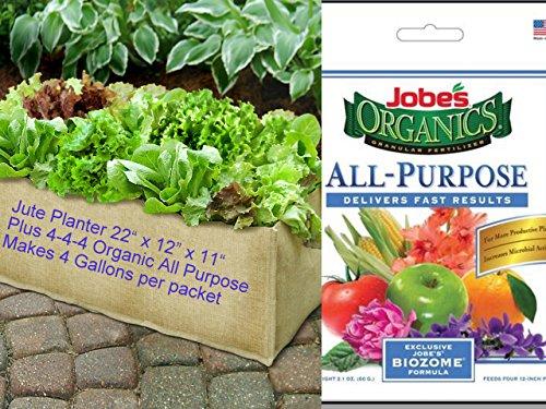"Jobe'S Organics All Purpose Fertilizer (4-4-4) Plus Portable Jute Patio Garden Bag 22"" X 12"" X 11"" - Organic Fertilizer Feeds Up To Four (4) Twelve Inch Pots -Granular -2 Ounces"