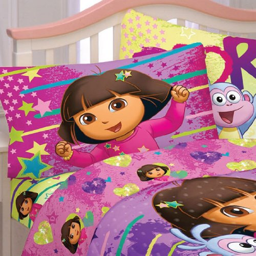 Dora-Explorer-Bed-Sheet-Set-Brilliant-Stars-Bedding