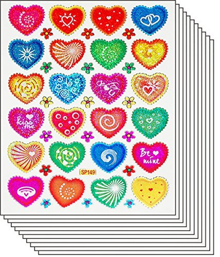 Jazzstick 400 Colorful Valentine Heart Decorative Sticker 10 sheets 01A25 - 1