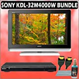 Sony Bravia M-Series KDL-32M4000/W 32-inch 720P LCD HDTV (White) + Sony DVD Player w/ Accessory Kit