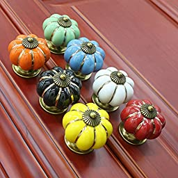 B&S FEEL 7pcs Multicolor Baby Kid\'s Children\'s Furniture Drawer Handles Decorative Pumpkin Ceramic Door Cabinet Drawer Knobs Pull Handles Creative Cupboard Handle Pull Knobs with Screw