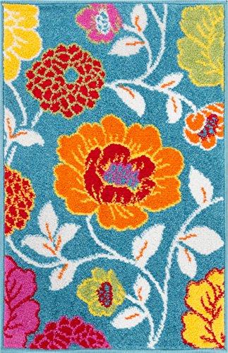Small Rug Mat Doormat Well Woven Modern Kids Room Kitchen Rug Daisy Flowers Blue 1'8