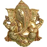 ACE Brass Ganesh Wall Hanging (28 Cm X 25 Cm X 7 Cm, Gold)