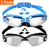 EVERSPORT Swim Goggles, 2-Pack, Swimming Goggles, Mirrored Lens, for Adult Men Women Youth Kids Child, Anti-Fog, UV Protection, Shatter-Proof, Watertight (Color: 03: Mirrored Blue & Mirrored Black(2-Pack))