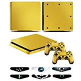 Skins for PS4 slim Controller - Decals for Playstation 4 slim Games - Stickers Cover for PS4 slim Console Sony Playstation Four Accessories with Dualshock 4 Two Controllers Skin - Golden (Color: Golden)