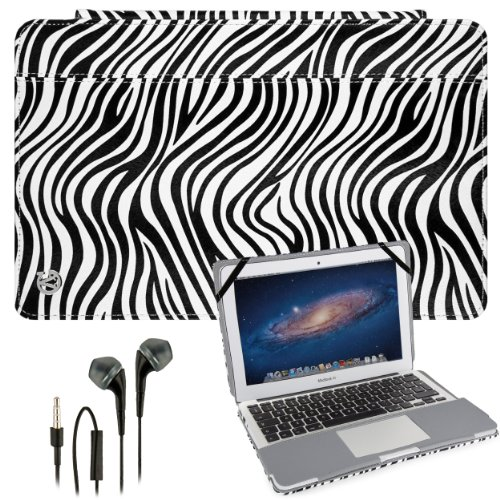 Vangoddy Laptop Mary - Pro City Book Portfolio Cover Case Black White Zebra Fits Apple Macbook Air 11 Inch + Black Hands-Free Earphones Headphones W/ Microphone