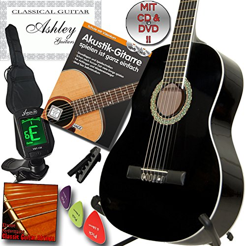 ashley-klassik-konzert-gitarre-schwarz-mit-set-mit-lehrbuch-akustikgitarre-inkl-cd-und-dvd-lehrgang-
