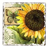 Counter Art Tumbled Tile Trivet, 6-Inch, Sunflowers in Bloom