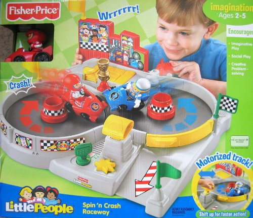 Buy Low Price Fisher Price Little People Spin 'n Crash Raceway w Motorized Track, Race Cars & Driver Figures – Fisher Price (2008) (B002W8KB4S)