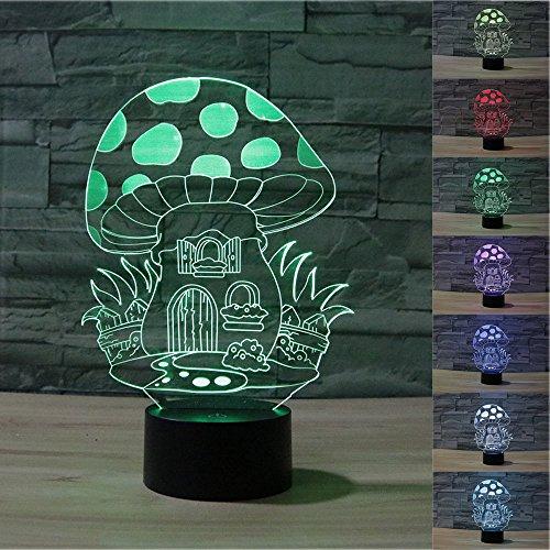 Fungo 3d proiettore inganno ottico a LED luce notturna, Haiyu 7farbwech con acrilico Flat & ABS Cambiare Base & caricatore USB lampada da tavolo toccare Botton