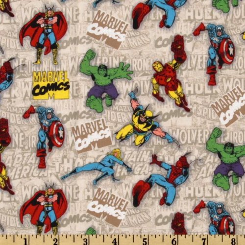 44'' Wide Marvel Retro Comics Tossed Comics Heroes Beige Fabric By The