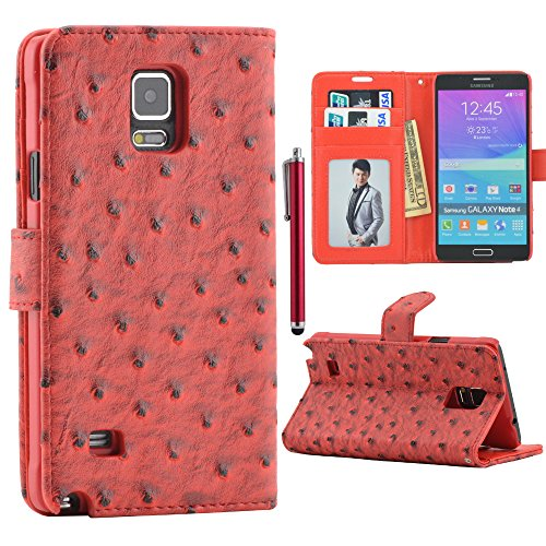 Luxury High Quality Samsung Galaxy Note4 Wallet Case For Samsung Galaxy Note 4 N9100 Case Rugged Ostrich Leather Case Stand Cover Built-In Credit Card Id Holders And Black Strip + Free Screen Protector & Stylus Pen (Red)