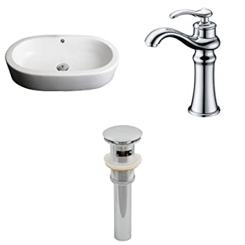 "Jade Bath JB-15387 25"" W x 15"" D Oval Vessel Set with Deck Mount CUPC Faucet and Drain, White"