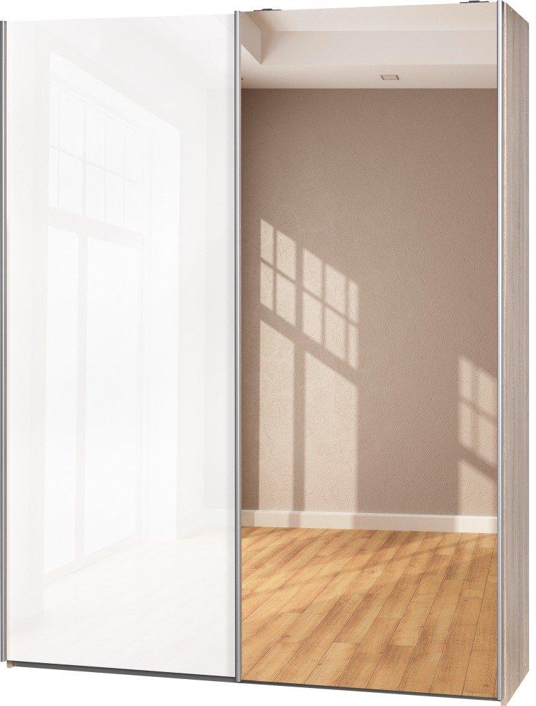 Schwebetürenschrank Soft Plus Smart Typ 41″, 150 x 194 x 42cm, Eiche/Weiß hochglanz/Spiegel