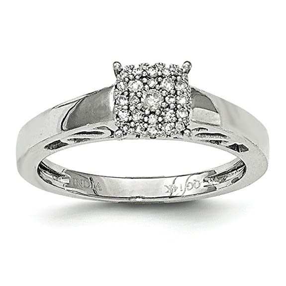 14ct White Gold Polished Diamond Ring