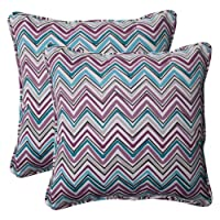 Pillow Perfect Indoor/Outdoor Cosmo Chevron Corded Throw Pillow, 18.5-Inch, Amethyst, Set of 2 from Pillow Perfect