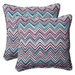 Pillow Perfect Indoor/Outdoor Cosmo Chevron Corded Throw Pillow 18.5-Inch Amethyst Set of 2
