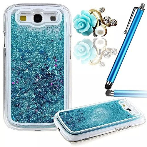 Vandot 3D Creative Sparkly Liquid Glitter Design G530 Liquid Quicksand Bling Adorable flowing Floating Moving Shine Glitter Case for Samsung Galaxy Grand Prime G530 + Blue Rose Anti Dust Plug - Blue (Blue Dust Plug compare prices)