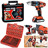 BLACK+DECKER 18v CORDLESS COMBI DRILL COMPLETE WITH LITHIUM BATTERY, CHARGER,CARRYING CASE+* 100 SCREWDRIVER ACCESSORIES*
