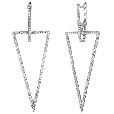 Triangle Earrings Ear Pendant with White Cubic Zirconia Hoop Earrings 925 Silver