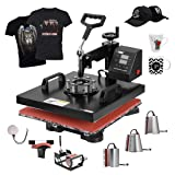 VIVOHOME 8 in 1 Combo Multifunctional Swing Away Clamshell Printing Heat Press Transfer Machine for T-Shirt Hat Cap Mug Plate 15 x 15 Inch (Color: 8 in 1, Tamaño: 15 x 15 Inch / 8 In 1)