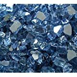 "Fireglass Fireplace Fire Pit Glass, ~1/4"" Pacific Blue Reflective, 10 LBS"