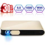 WOWOTO CAN Pro Projector 3D DLP 4500 Lumens Android 6.0 Built-in Battery Support 1080P WiFi Bluetooth Airplay HDMI USB Max 300in Portable Projector with Carrying Case, Gold (Color: CAN Pro)