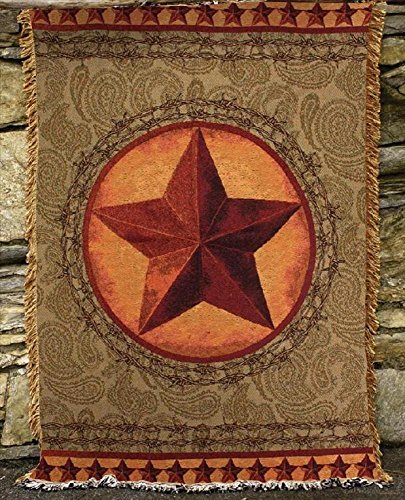 """""""Western Star"""" Green / Brown Tapestry Throw Blanket 50"""" X 60"""" front-987239"""