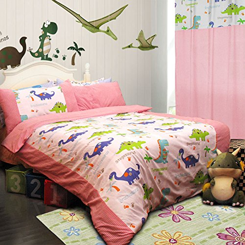 FADFAY Home Textile,Dinosaur Bedding Sets,Anime Bed Sheets Set,Cute Kids Queen Size Cartoon Bedding Set,4Pcs