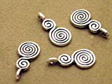 50 Silver Plated Swirl Bails Charms Glue on for Jewelry Making