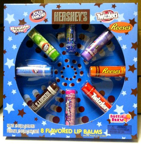 Hersheys 8 Piece Lip Balm Set Jolly Rancher, Bubble Yum, Reeses, Twizzlers