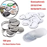 100 Sets Pin Back Button Parts for Badge Maker Machine Button Made DIY Crafts and Children's Craft Activities (50mm 2 inch) (Tamaño: 50mm 2 inch)