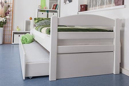 """Lit simple / Lit fonctionnel """"Easy Sleep"""" K1/h/s avec 2tiroirs et 2panneaux de masquage, 90 x 200 cm en hêtre massif peint en blanc"""