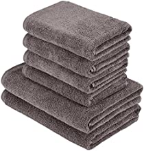 AmazonBasics Handtuch-Set, schnell trocknend, 2 Badetücher und 4 Handtücher, Dunkelgrau