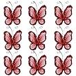 50pcs Papillons de Bas de Maille Scintillants - Rouge