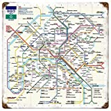 Paris Metro Map rusted metal sign (pst)