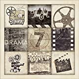Movie Night! Classic Cinema Film Old-Fashioned Movie Collage; One 12X12 Poster Prints