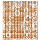 "Popular Modern Cool Lovely Cute White Diamonds Circle Orange Background New Waterproof Polyester Fabric Shower Curtain (66""x72"") Lovely Bathroom Decoration"