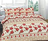 Romantic ROSES-RED DUVET SET - Quilt / Duvet Cover with 2 Romantic Flowers Pillow Cases FREE - Sophisticated Bedding, SINGLE DOUBLE KING SUPER KING, Standard UK Sizes (KING, ROSES - RED)