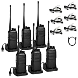 Radioddity GA-2S Long Range Walkie Talkies UHF Two Way Radio for Hunting/Fishing/Camping/Security with Micro USB Charging + Air Acoustic Earpiece with Mic + 1 Programming Cable (6 Pack) (Color: Black)