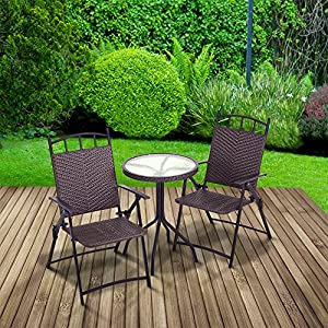 "Trueshopping ""Allegra"" Rattan Effect Bistro Table & Chair Set: Round Table & Two Folding Arm Chairs - All Weather Indoor / Outdoor Use"