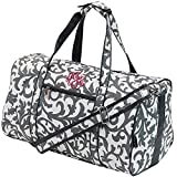 "Personalized Gray Damask Duffle Bag 17.5"" by LD Bags"